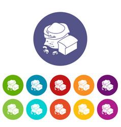 Flour production icons set color vector
