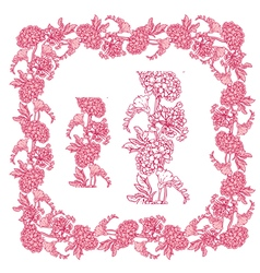 Flower frame pink 3 380 vector
