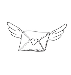 Flying envelope with wings and heart vector