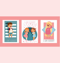 forgive me kid character and children in vector image