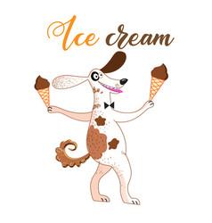 Fun with a dog and ice cream o vector