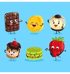 Funny sweet food characters cartoon isolated vector image