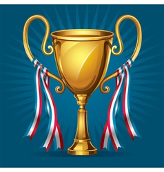 Golden award trophy and ribbon vector image