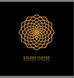 golden flower shape gradient premium logotype vector image