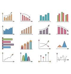 Graphs and Charts Icons vector image vector image