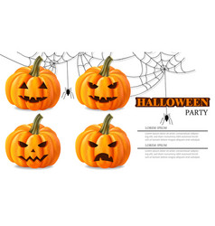 Halloween party pumpkin faces card vector