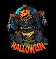 halloween pumpkin scarecrow in the middle vector image