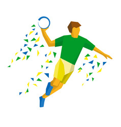 Handball player isolated on white background vector