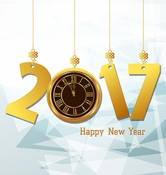 Happy new year 2017 with clock abtract background vector