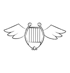 harp with wings sketch vector image
