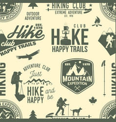 hiking seamless pattern or background vector image