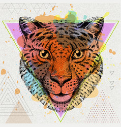Hipster animal cheetah on artistic polygon vector