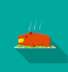 hot barbecue suckling pig in flat style side view vector image