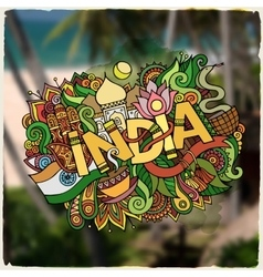 India hand lettering and doodles elements vector image