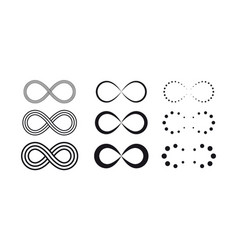 infinity symbols eternal limitless endless vector image