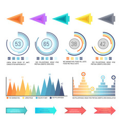 infographics and arrowheads pointing charts set vector image