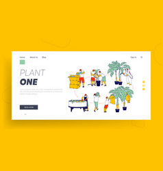 Labour working on banana plantation landing page vector