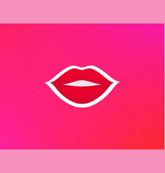 lips with make up red lipstick beautiful promo vector image