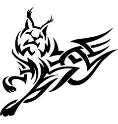 lynx in tribal style vector image