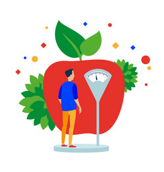 man measures the weight before the apple vector image