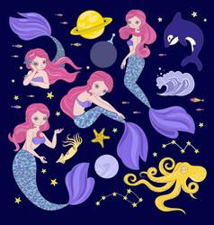 Mermaid in space galactic princess vector