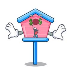 Money eye bird house on a tree cartoon vector