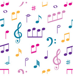 music notes seamless pattern on white vector image