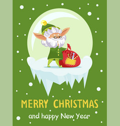 old elf on christmas and new year greeting card vector image