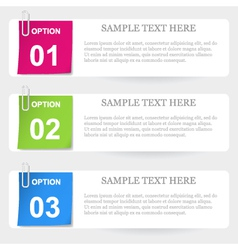 One two three - stapled note options vector image