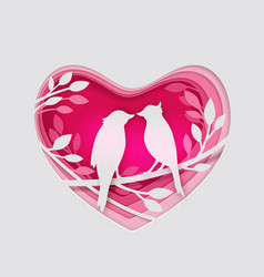 paper pink heart and two birds vector image