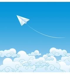 Paper plane against sky with clouds vector image