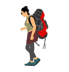 passenger woman with backpack luggage walking vector image