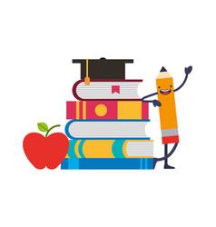 pencil kawaii and school supplies vector image