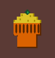Pixel icon in flat style fruit muffin vector