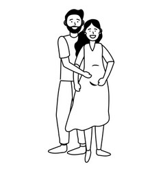 pregnant couple avatar black and white vector image