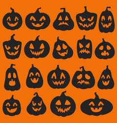 Pumpkin silhouettes halloween pumpkins emoticon vector