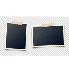 realistic blank photo card frame film set retro vector image