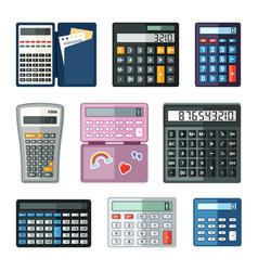 realistic calculators set educational math vector image
