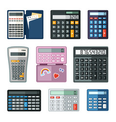 realistic calculators set educational math with vector image