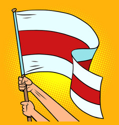red and white flag belarus in hands vector image