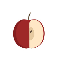 red half apple icon in flat design vector image
