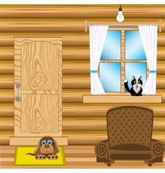 Room in wooden house vector image