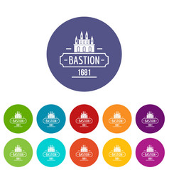 Royal bastion icons set color vector