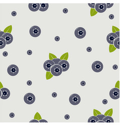 seamless pattern with blueberries and leaves vector image