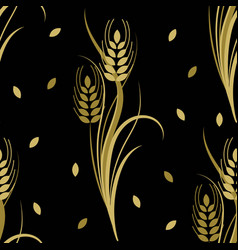 Seamless pattern with gold wheat spikelets vector