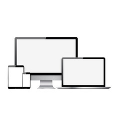 set of blank screens with computer monitor laptop vector image