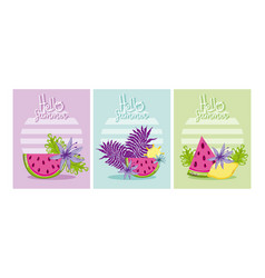 set of hello summer cards vector image