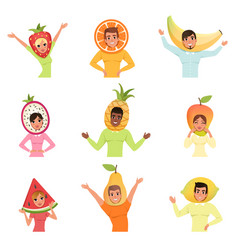 Set of men and women in different fruit hats vector