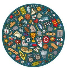 set sport cartoon doodle objects vector image