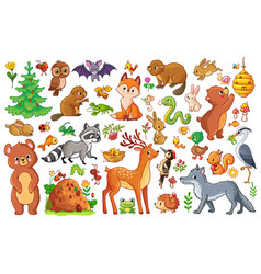 set with animals and birds vector image